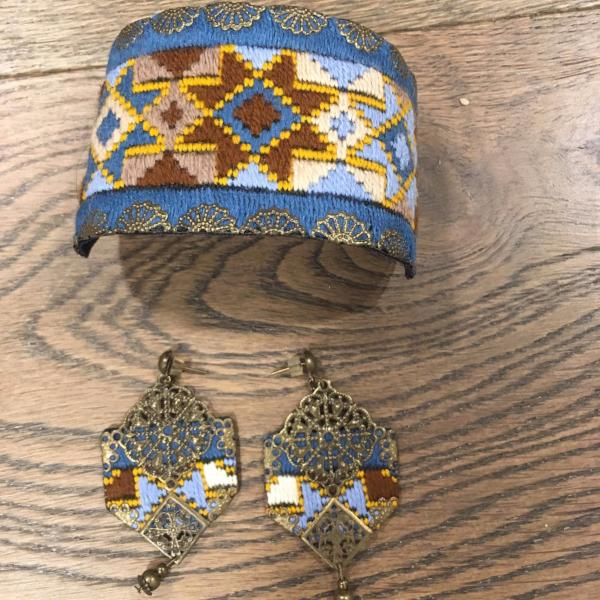 Set of Bohemian Blue and Mustard Hand Sewn Earrings and Cuff ( Bracelet)