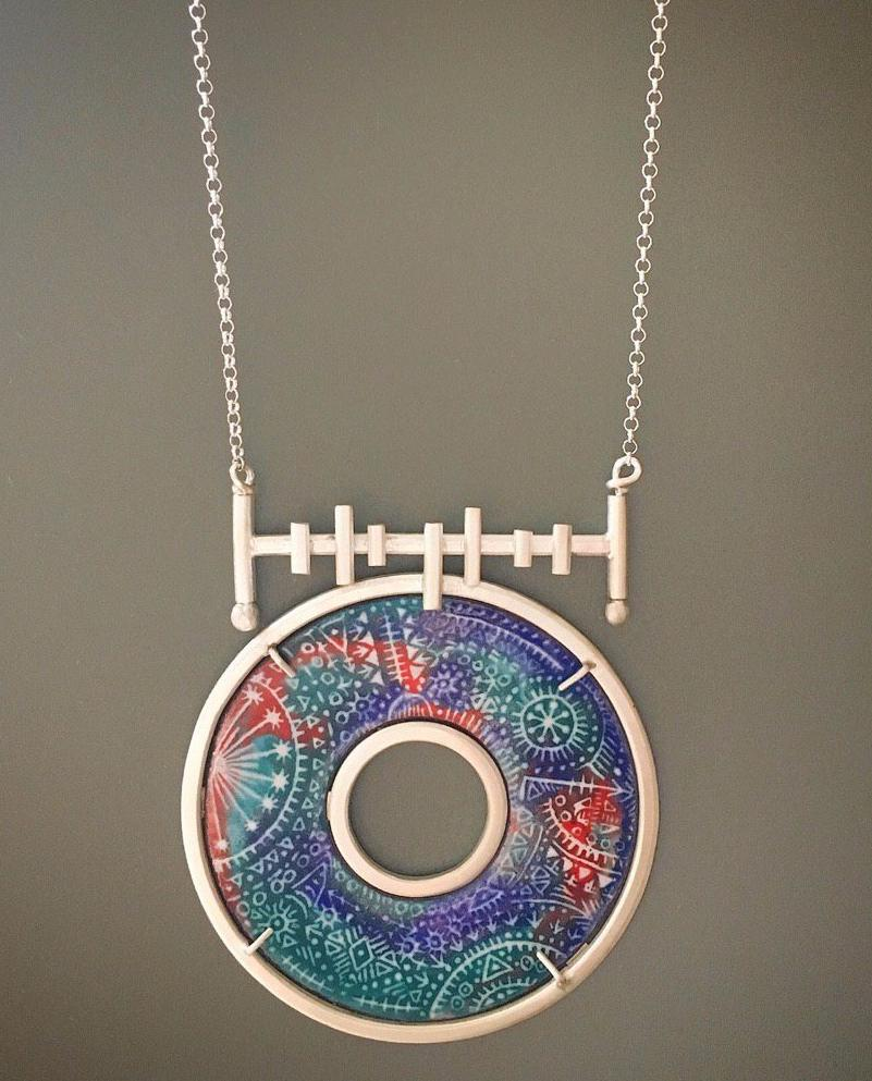 Pre Order (Takes 5 Weeks) Sterling Silver With Meenakari Round Necklace