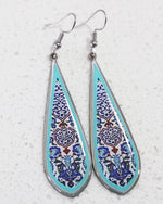 Turquoise Blue Allergy Free Steel Ancient Tile Inspired Earrings - Treasures of Silk Road
