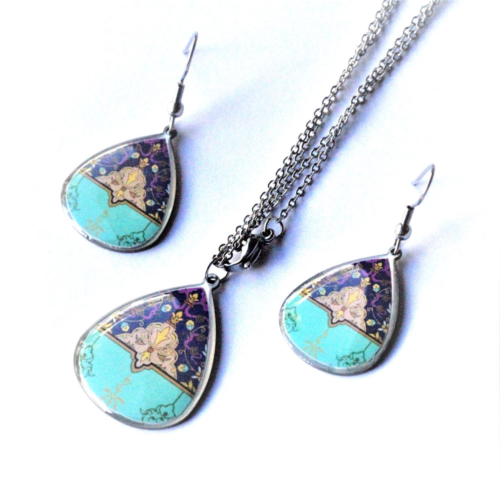 Small Turquoise Ancient Tiles Inspired Allergy Free Steel Earrings and Necklace