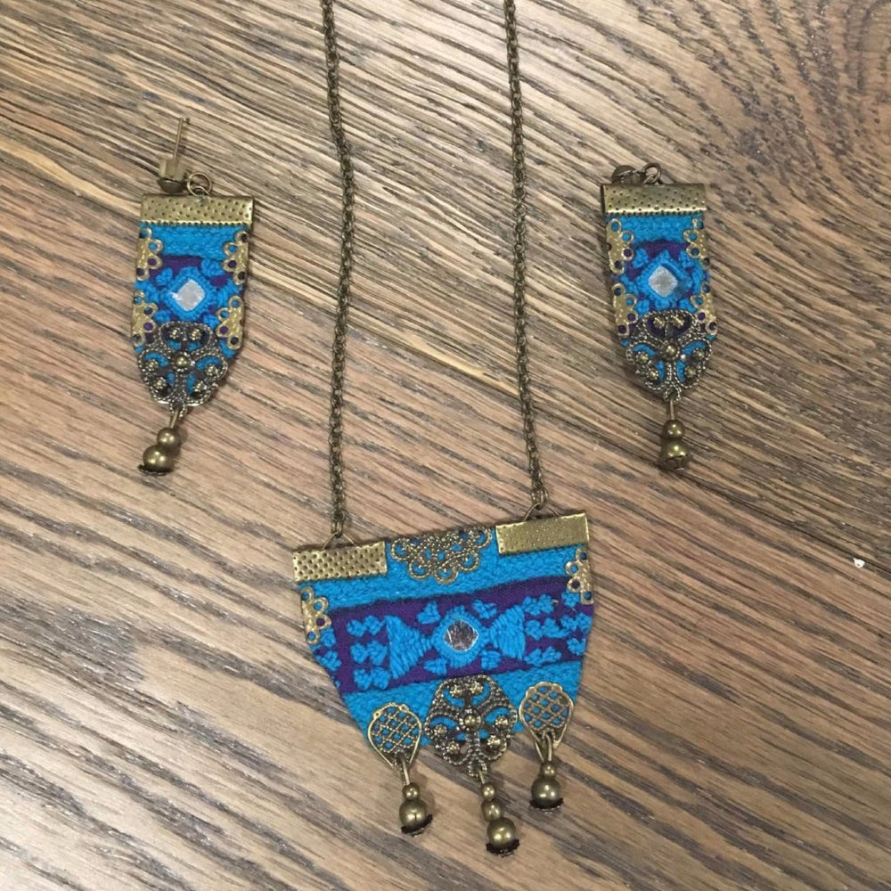 Blue Hand Sewn Set Of Bohemian Necklace and Earrings( Pre order takes 5 weeks)