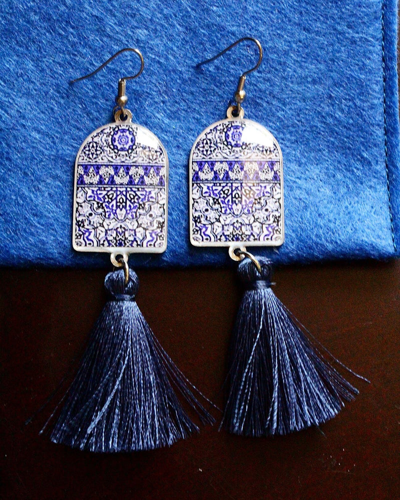 Dark Blue Ancient Tiles Inspired Allergy Free Steel Tassel Earrings - Treasures of Silk Road
