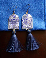 Dark Blue Ancient Tiles Inspired Allergy Free Steel Tassel Earrings