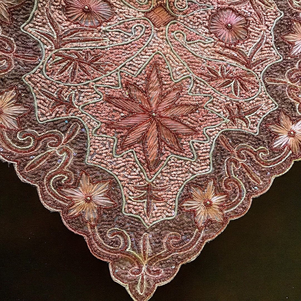Pink Fully hand sewn beaded Bohemian Golabetoon table Runner / Table cloth
