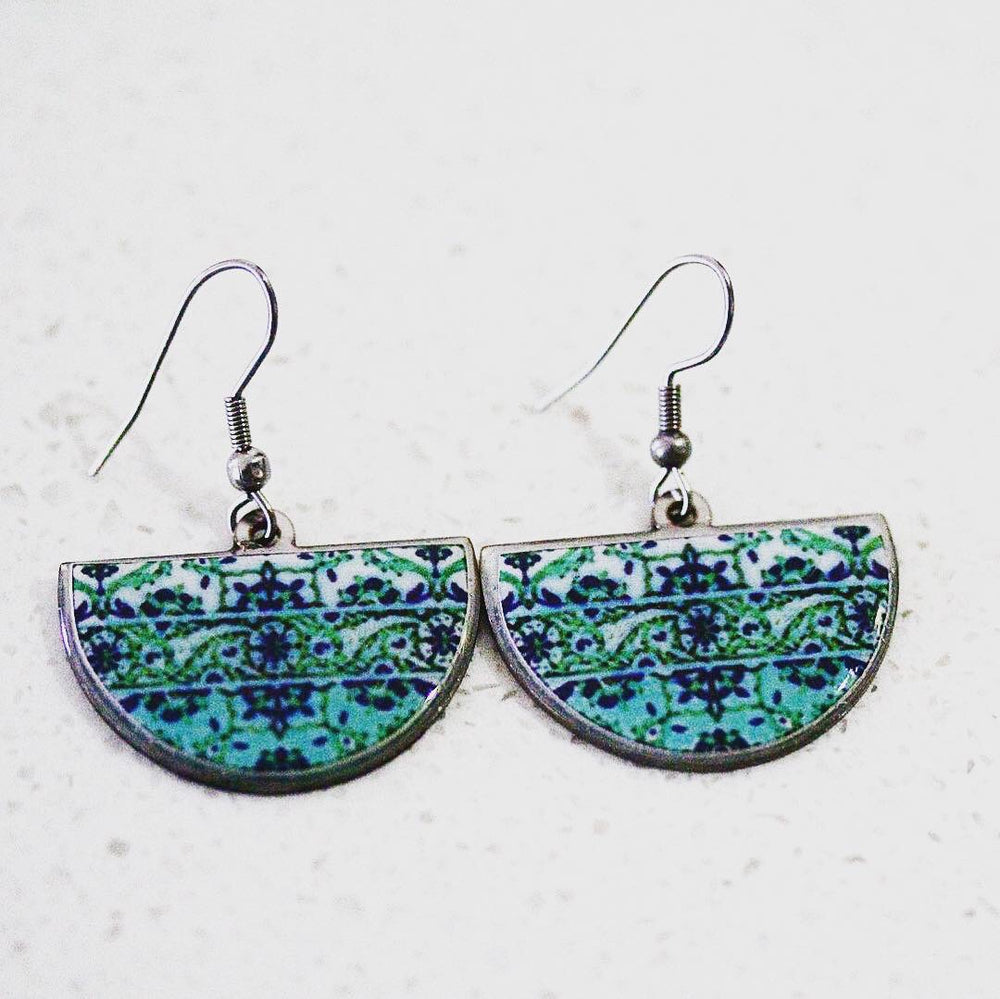 Green Ancient Tiles Inspired Allergy Free Steel Earrings - Treasures of Silk Road