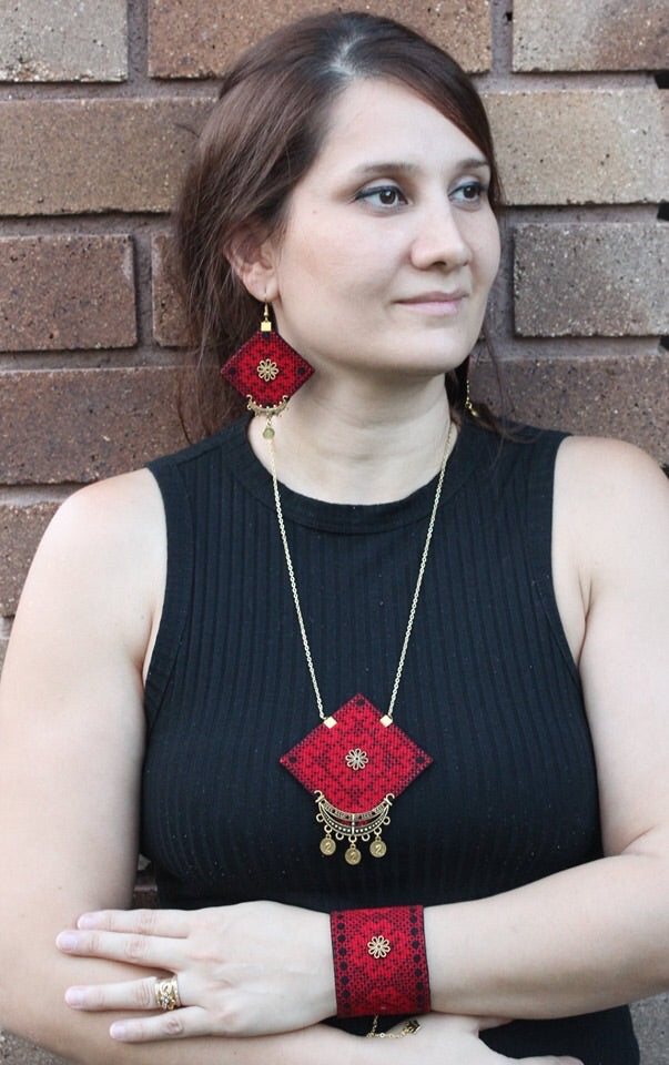 Red Hand Sewn Bohemian Earrings