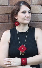 Red Hand Sewn Bohemian Jewellery Set - Treasures of Silk Road