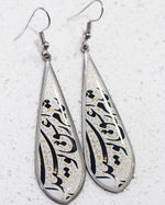 Calligraphy Allergy Free, Tear Shape Earrings - Treasures of Silk Road