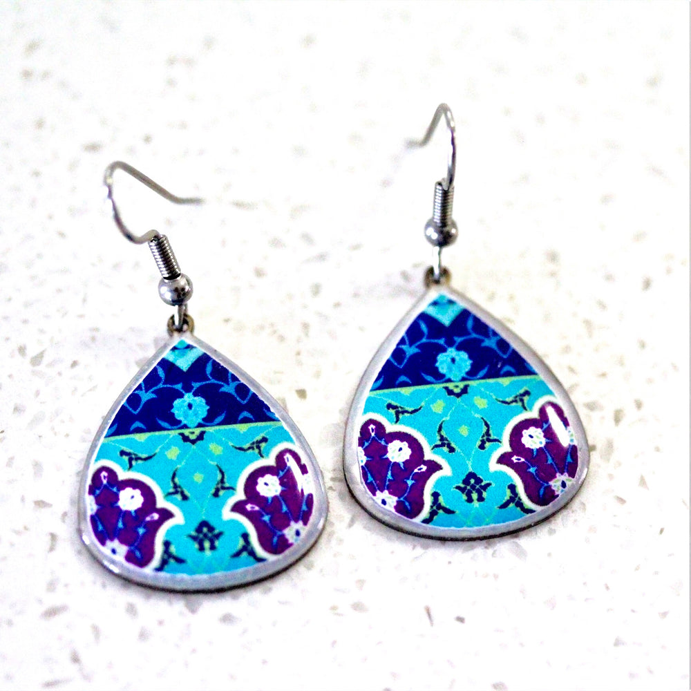 Turquoise Small Ancient Tiles Inspired Allergy Free Steel Earrings
