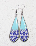 Turquoise Allergy Free Steel, Ancient Tile Inspired Earrings