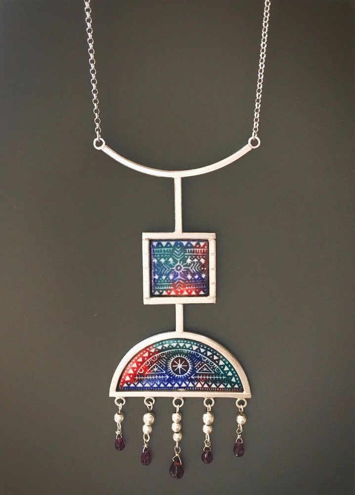 Pre Order(Takes 5 Weeks) Sterling Silver 925 Decorated With Meenakari Necklace - Treasures of Silk Road