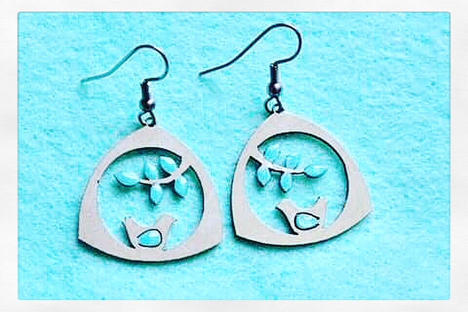 Allergy Free Turquoise Love Birds Earrings