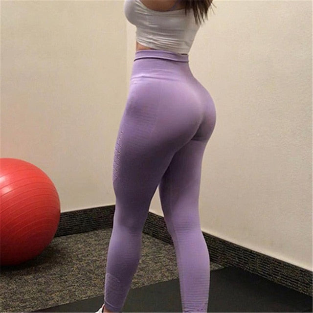 official shop shop for best excellent quality Oyoo Super Stretchy Gym Tights Energy Seamless Tummy Control Yoga Pants  High Waist Sport Leggings Purple Running Pants Women