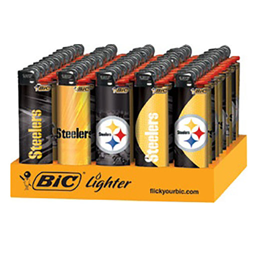 Bic Steelers Flint Lighter Display - Smoketokes