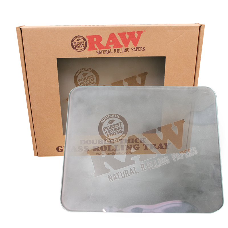 Raw Large Frosted Glass Rolling Tray - Smoketokes
