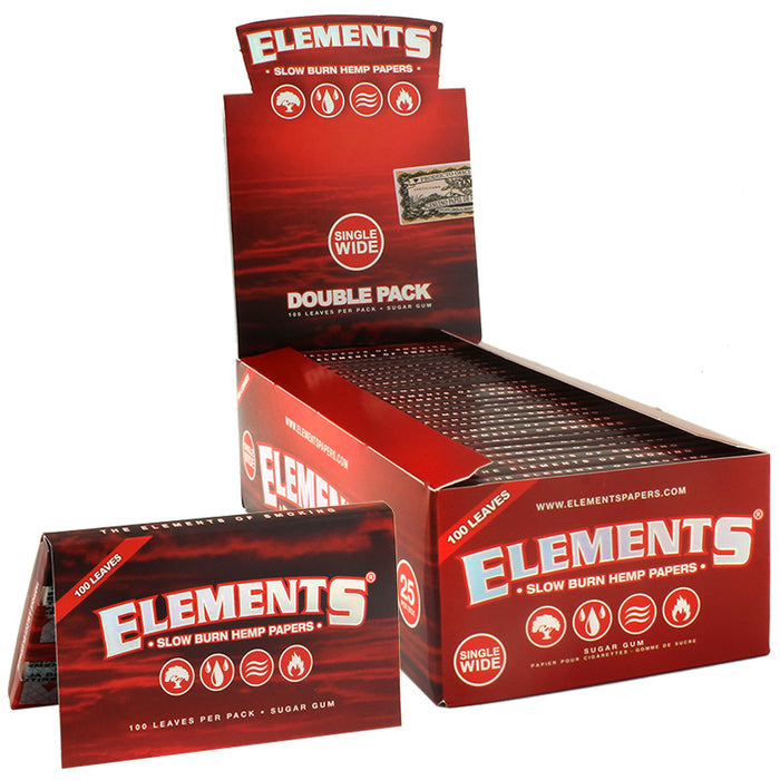 Elements Red Single Wide Slow Burn Hemp Rolling Paper - Smoketokes