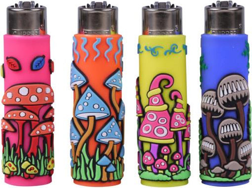 Clipper Pop Cover Mushrooms Lighters (24pk) - Smoketokes