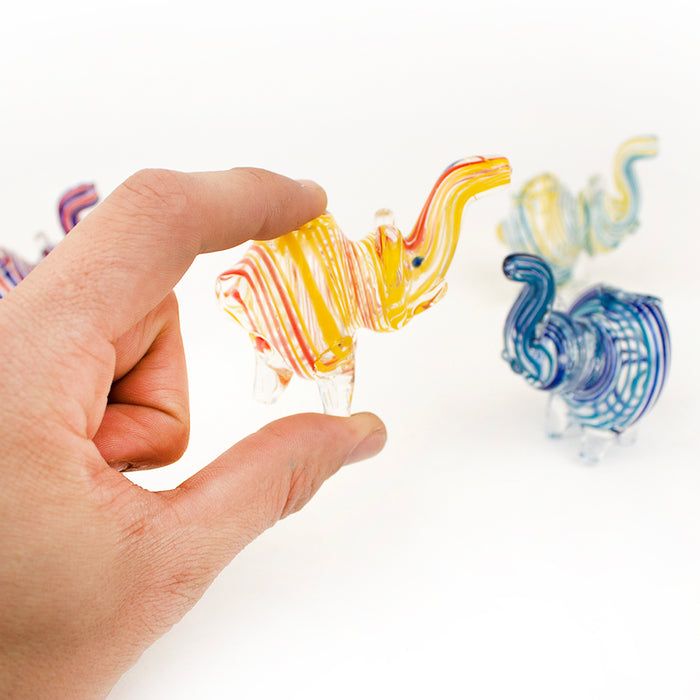 "3"" Spiral Glass Elephant Hand Pipe"