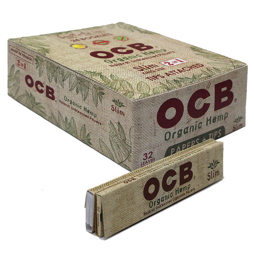OCB Organic Hemp King Size Slim Rolling Paper & Tips - Smoketokes