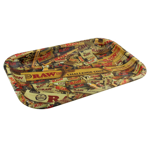 Raw Mixed Items Small Metal Rolling Tray - Smoketokes
