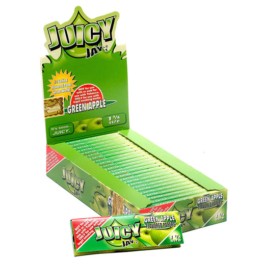 "Juicy Jay's 1 1/4"" Size Rolling Paper Green Apple Flavor - Smoketokes"