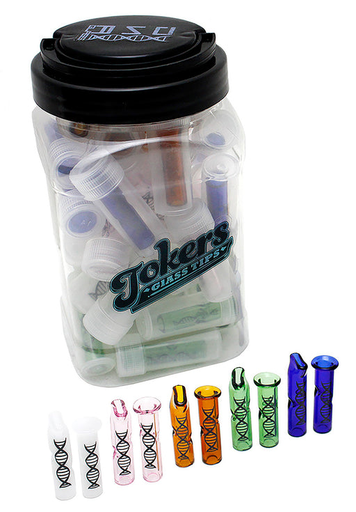 Tokers Colored Glass Tips Jar by DNA Glass - Smoketokes