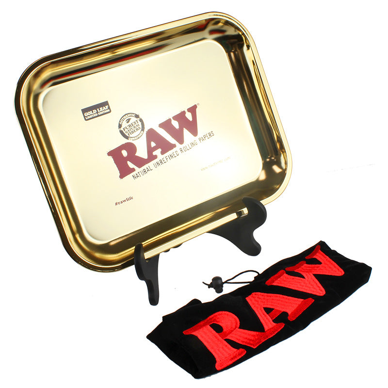 Raw Gold Leaf Extra Large Metal Rolling Tray - Smoketokes