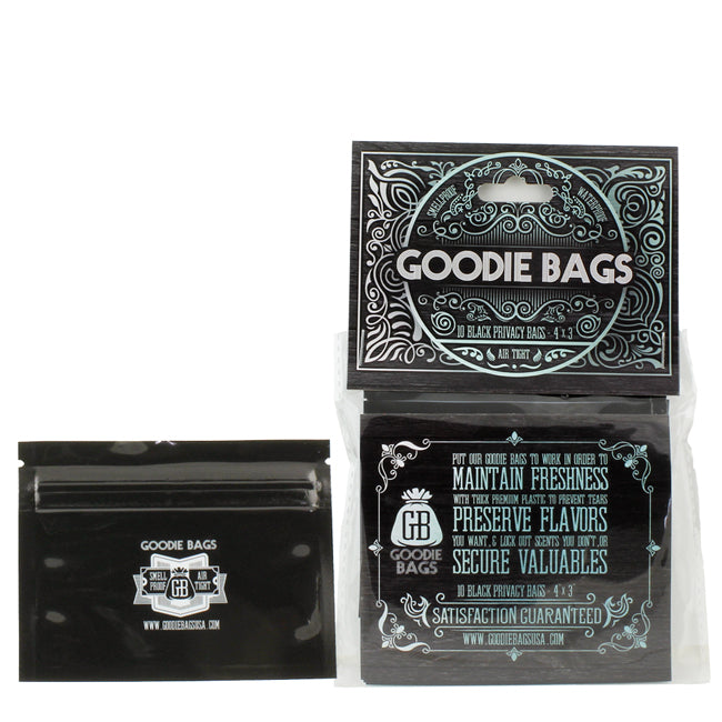 Goodie Bags Smell Proof Ziplock Small Black
