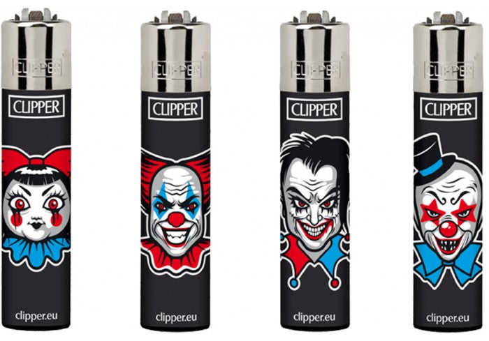 Clipper Horror Clown Lighters Flint Lighter Display