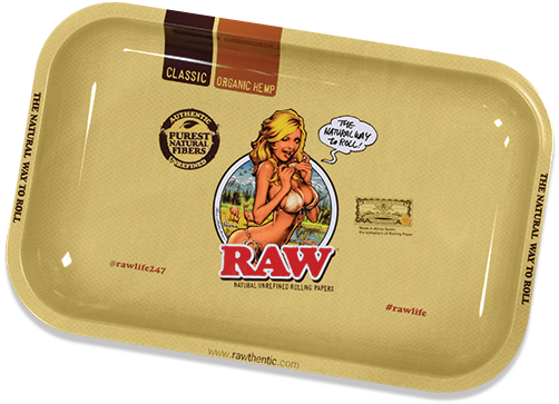 Raw Girl Metal Rolling Tray