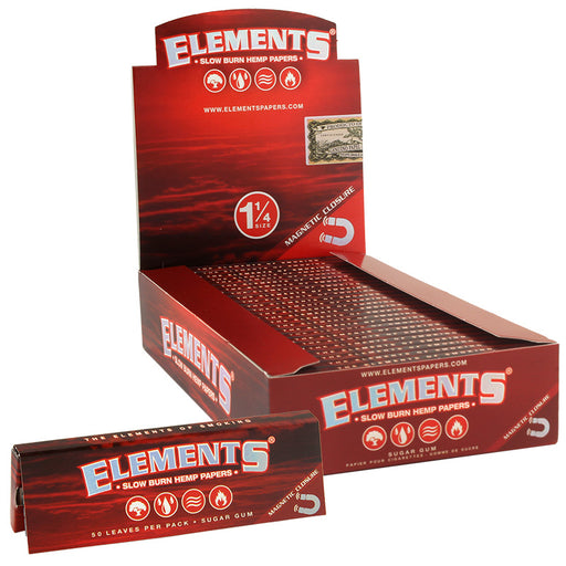 "Elements Red Magnetic 1 1/4"" Size Slow Burn Hemp Rolling Paper - Smoketokes"