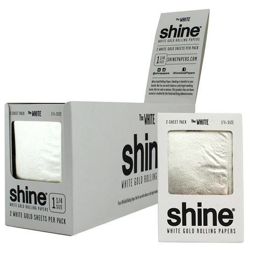 "Shine 1 1/4"" Size 2 Sheet Pack The White Gold Rolling Paper - Smoketokes"