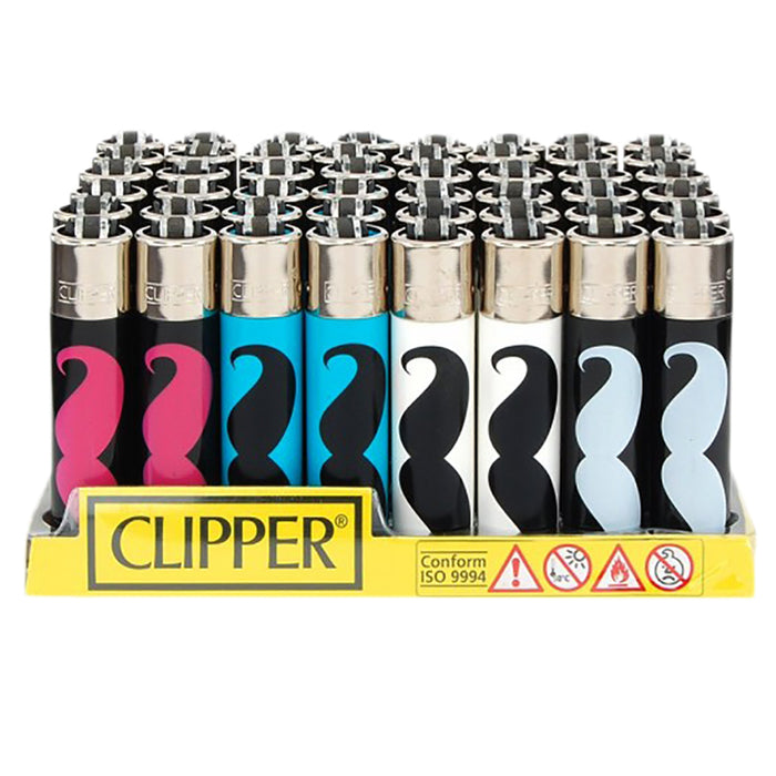 Clipper Mustache Flint Lighter Display - Smoketokes