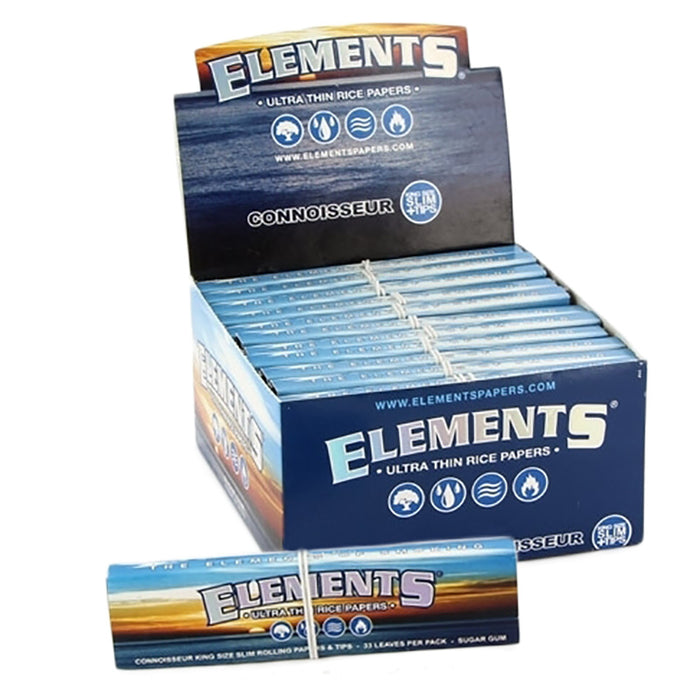 Elements Connoisseur King Size Slim Rolling Paper & Tips - Smoketokes