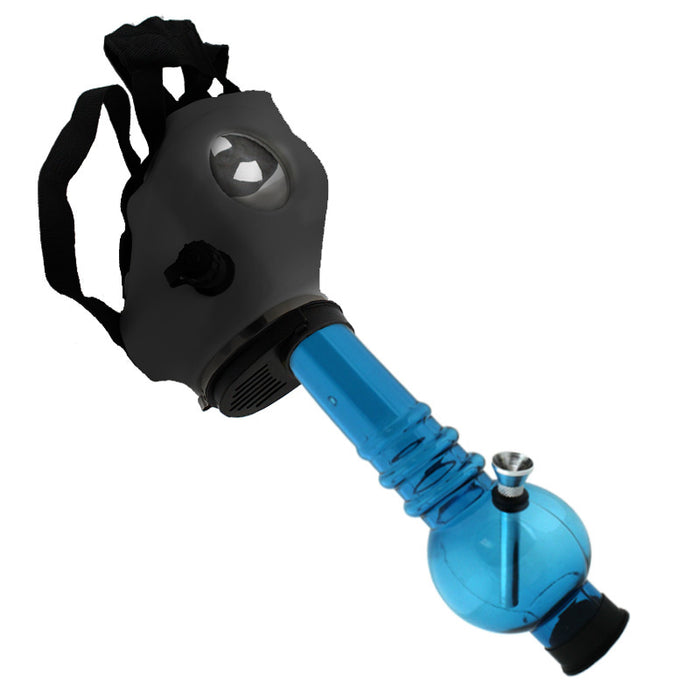 Black Silicone Gas Mask with Acrylic Water Pipe - Smoketokes