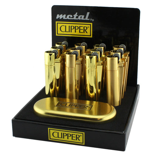 Clipper Full Metal Gold Flint Lighter Display - Smoketokes