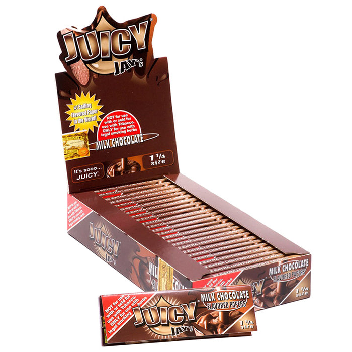 "Juicy Jay's 1 1/4"" Size Rolling Paper Milk Chocolate Flavor - Smoketokes"