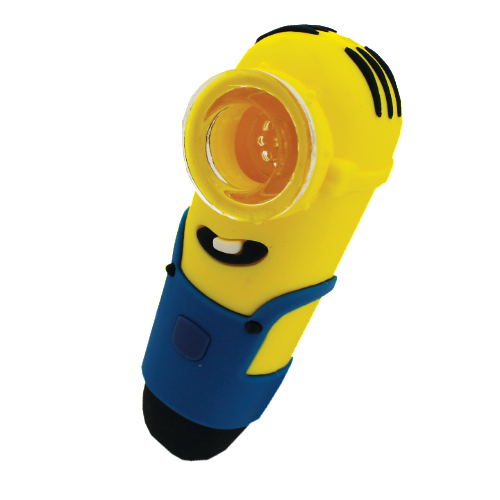"4"" Silicone Minion Hand Pipe with Glass Bowl"