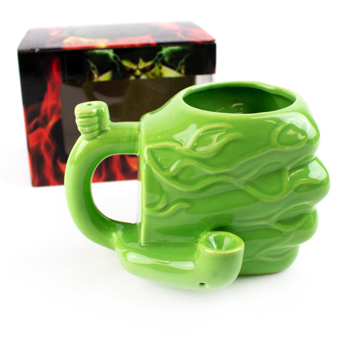 Green Hulk Hand Smoking Pipe Mug