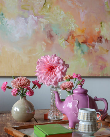 Large floral abstract oil painting Time to bloom by Sanni Olasvuori