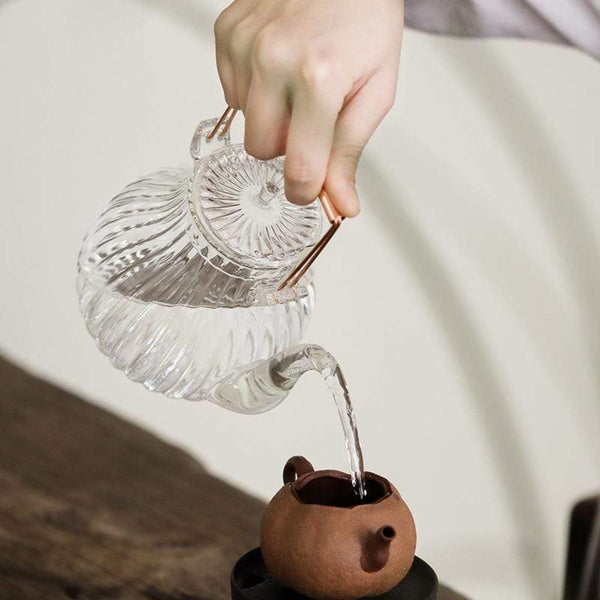 Swirl-Textured Glass Teapot with Copper Handle