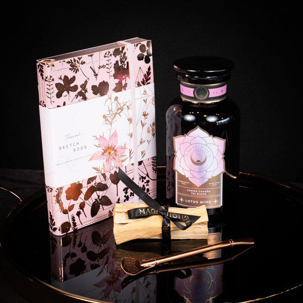 Crown Chakra Gift Set: Lotus Mind Jar, Fireweed Sketchbook, Rose Gold Bombilla, Palo Santo Bundle