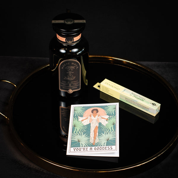 You are a Goddess Gift Set: Goddess Green Jar, Shoyeido Incense- Diamond, You Are A Goddess Greeting Card