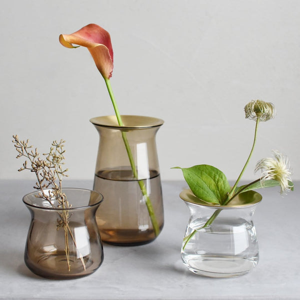 Elegant Glass Vase with Brass Top