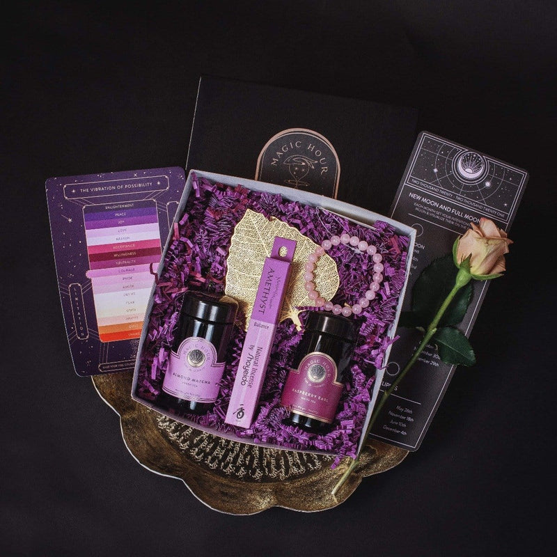 Gemstone Magic Gift Set -  2 Violet Glass Travel Jars, Rose Quartz Bracelet, Shoyeido Incense, Gold Leaf Strainer, Vibration of Possibility Chart, New & 2021 Full Moon Chart