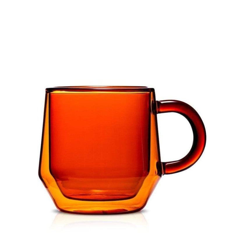 Double-Walled Amber Glass Teacup Sets