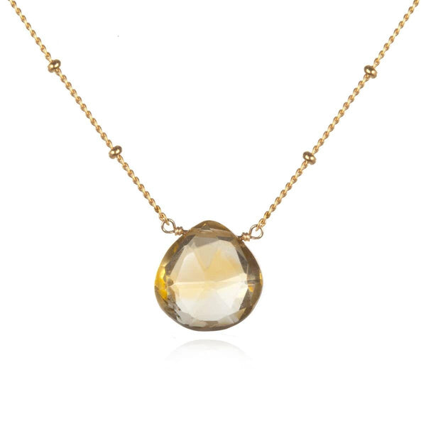Citrine Gemstone Teardrop Necklace
