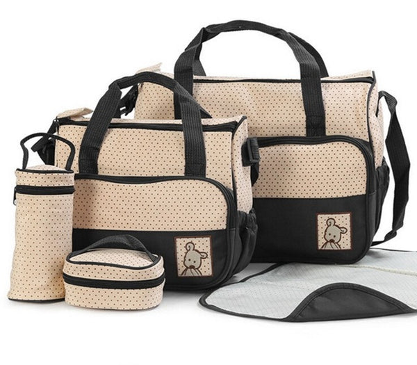 Black Nappy Bag 5 Piece Set