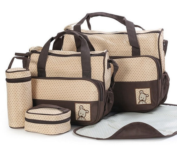 Brown Nappy Bag 5 Piece Set