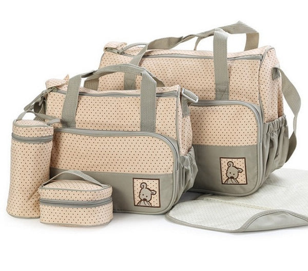 Grey Nappy Bag 5 Piece Set